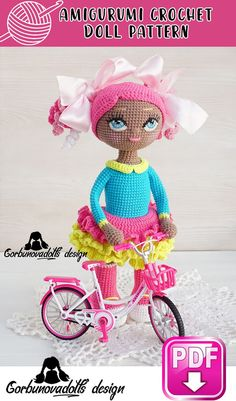 Easy-to-follow photo tutorial, which consists of 21 pages in PDF Diy Crochet Patterns, Handmade Dolls Patterns, Crochet Doll Pattern, Amigurumi Patterns, Doll Patterns, Crochet Projects, Crochet Dolls, Crochet Eyes, Doll Tutorial