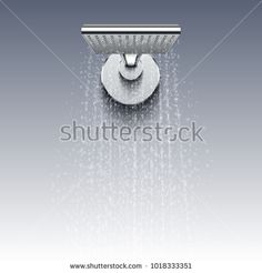 Stock Vector: Shower head with water drops realistic vector illustration. Shower water splashing in bathroom -