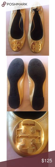 Tory Burch Gold Flats Gorgeous Tory Burch flats that are a staple to every girls classic look. In good condition. Scrapes on back. Overall good condition. Size 7. Tory Burch Shoes Flats & Loafers