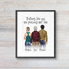 Custom Digital Father Son Daughter Portrait Illustration | Fathers Day | Mom and Children Gift | Dad Daddy Papa Father Stepfather Create Your Character, Textured Canvas Art, You Are Precious, Dog Mom Gifts, Portrait Illustration, Dog Portraits, Father And Son, Artwork Prints, High Quality Images