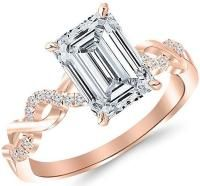 2.63 Ctw 14K Rose Gold Twisting Infinity Gold and Diamond Split Shank Pave Set Emerald Cut GIA Certified Diamond Engagement Ring