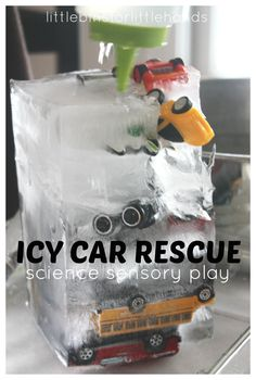 Ice Car Rescue Ice Melt Science Sensory Play Use bottle warmer on low and let them squeeze water with droppers-or just a bin of warm water Science Experiments For Preschoolers, Preschool Science, Science For Kids, Science Activities, Science Projects, Toddler Activities, Science Toddlers, Easy Science, Sensory Bins