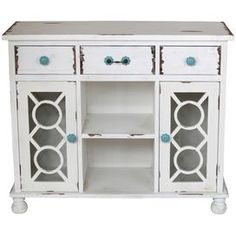"""Wood sideboard in white with three drawers and two latticework doors. Product: SideboardConstruction Material: WoodColor: White and turquoise  Features: Three drawers and two doors  Dimensions: 35"""" H x 41.5"""" W x 16"""" D Cleaning and Care: Dry wipe clean"""