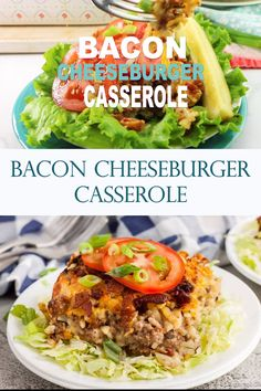 Bacon cheeseburger casserole recipe has everything you love about cheeseburgers in a tasty and easy casserole dish. This is a must try recipe! #cheeseburger #recipe #baconcheeseburger #recipe #easyrecipes #easycasseroles