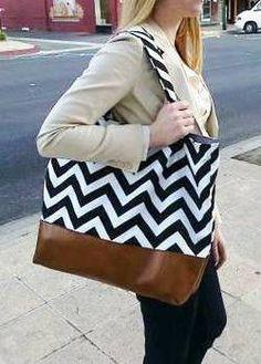 Slouchy Black and White Chevron tote, Market bag, Everything Bag, Purse, Zig Zag, Leather. $67.00, via Etsy.