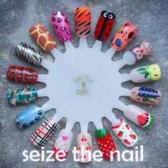 Nail art wheel by Seize the Nail - animals and fruit