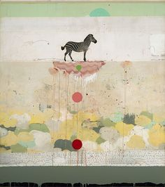 Michael  Cutlip - Michael Cutlip at Seager Gray Gallery_ Smile is a whimsical colorful mixed media painting using collage.