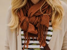Very pretty way to tie a scarf. It is also different way than what you usually see. Glad I found this!