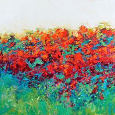 Red Poppies impressionist landscape painting contemporary art original art modern wall art turquoise green by Don Bishop