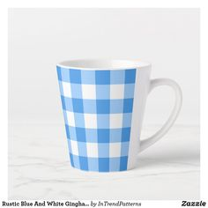 Rustic Blue And White Gingham Pattern Latte Mug Rustic Blue, Unique Coffee Mugs, Latte Mugs, Gingham Check, Art Pieces, Blue And White, Simple, Tableware, Pattern