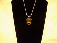 Vintage 1930's Amber Glass and Rhinestone Necklace by BlackRain4, $69.99