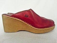 Women's Born Red Leather Mules Slides Clogs Beige Sole Heel 8M EU 39 #BORN #Mules
