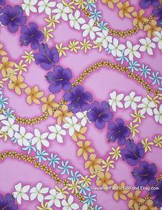 Pink Floral Fabric Hawaii Hibiscus Plumeria Tiare Flowers