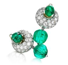 FD Gallery | A Pair of Emerald and Diamond Ear Pendants, by Suzanne Belperron