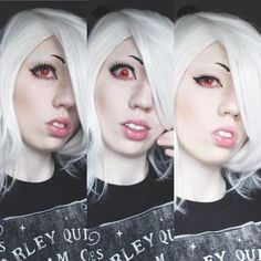 First attempt at Juuzou makeup... Success or need improvements?  #juuzou #juuzousuzuya #juuzoucosplay #tokyoghoul #anime #cosplay #makeup #contacts #wig #attempt #tokyoghoulcosplay #cosplaygirl #cosplaymakeup