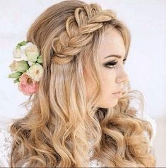 Trendy Bridal Makeup For Blondes Brides Braids Bridal Hairstyles With Braids, Oval Face Hairstyles, Wedding Hairstyles For Long Hair, Braided Hairstyles, Bridal Makeup For Blondes, Blonde Bride, Oval Faces, Hair Designs, Hair Looks