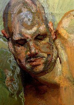 """Last Portrait of Leigh"" - Lucian Freud, 1995 {contemporary #expressionist art human figurative bald male head #impasto texture man face portrait grunge painting}"
