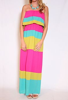 Never. the wrong kind of Colorblock Strapless Maxi Dress - Amazing colors!!- NAAT. Piñata colors. Terrible.