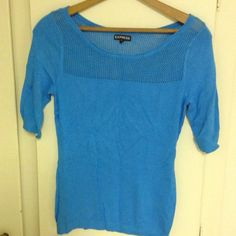 Express short sleeve sweater tee Light blue sweater tee. Knit at the top. Like new worn once. 80% rayon, 17% nylon, 3% spandex. Comfy fit. Express Tops Tees - Short Sleeve