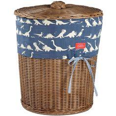 Dinosaur Blue Trim Wicker Laundry Basket