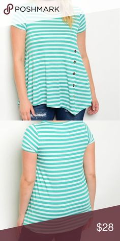 🆕Mint Green Stripes Plus Size🆕 Gorgeous green stripes with accent buttons and slanted hemline! 🆕 Tops Blouses