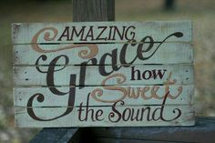 Items similar to Amazing Grace - Hand Painted Sign - Painted on recycled wood - Thanksgiving on Etsy Pallet Crafts, Pallet Art, Diy Pallet Projects, Wood Crafts, Wood Projects, Diy Crafts, Pallet Ideas, Crafty Projects, Rustic Signs