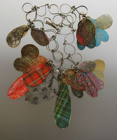 Ross Malcolm, New Zealand: 'Flashbacks'  paisley necklace   synthetic cord, sterling silver, rubber, plastic, tin, resin, paper