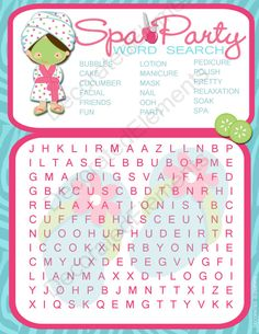 Spa Party Games Word Search Digital Download by DecoratedElements, $5.00