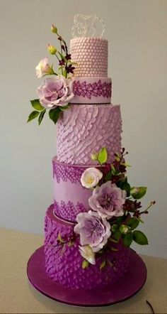 Purple tiered cake