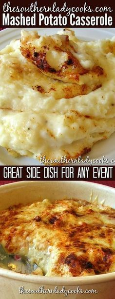 Mashed potato casserole is a great side dish for any event or any meal. Who doesn't lie mashed potatoes and this casserole just takes them to another level. potato al horno asadas fritas recetas diet diet plan diet recipes recipes Potato Side Dishes, Vegetable Dishes, Vegetable Recipes, Potato Sides, Pizza Side Dishes, Twice Baked Potatoes Casserole, Casserole Dishes, Potatoe Casserole Recipes, Mashed Potato Recipes