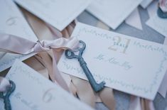 Pink ribbon on keys! Escort cards can be quite creative, and they're a fun detail to round out all the other wedding shots. Photo by Jana Williams via Green Wedding Shoes Wedding Trends, Wedding Blog, Destination Wedding, Dream Wedding, Wedding Day, Wedding Planner, Irish Wedding, Italy Wedding, Wedding Vendors