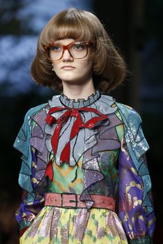 """Gucci Spring 2016 Ready-to-Wear Fashion Show Details. I'm liking Gucci's color palette, mixed prints, and quirky """"illustrated"""" folds."""