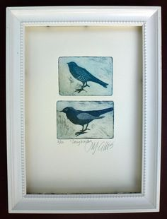 etching two songbirds in turquoise and by mariannjohansenellis, $35.00