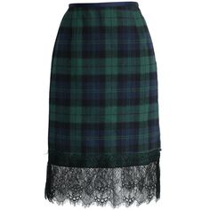Chicwish Lace Trimmed Tartan Pencil Skirt in Green ($40) ❤ liked on Polyvore featuring skirts, green, knee length pencil skirt, green skirt, lace trim skirt, plaid skirt and green pencil skirt