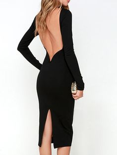 Shop Black Backless Long Sleeve Split Bodycon Dress from choies.com .Free shipping Worldwide.$15.11