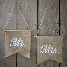 Banderines Mr & Mrs yute / 2 uds. - La Fiesta de Olivia