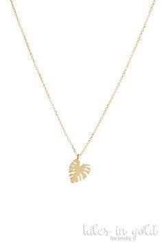 Gold Leaf Necklace Monstera Leaf Necklace 14k Gold Necklace