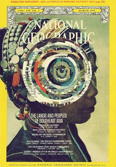 Old National Geographic Magazines Collages by Caroline Alkire