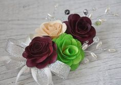 Burgundy, Green and Ivory Wooden Roses Corsage Brooch