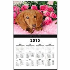 Dachshund puppy surrounded by roses Calendar Print for