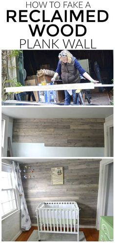 Fake a fun weathered reclaimed wood plank wall without dealing with finding clean and suitable old wood. wood wall How To Fake A Reclaimed Wood Plank Wall