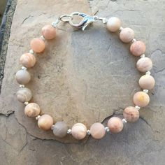 Mens Bracelet, Peach Moonstone with Sterling Silver or Copper