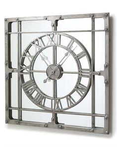 Stylish Mirror Wall Clock Large Decorating Ideas - Master Home Decor Window Pane Mirror, Mirror Wall Clock, Unique Wall Clocks, Unique Wall Decor, Extra Large Mirrors, Clock Decor, Large Clock, Metal, Home Decor