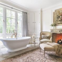 We wouldn't mind having an century mantle in our master bathroom. Barber Wilson, Houston Houses, Colonial Furniture, Bathroom Goals, Visual Comfort, French Country Decorating, Great Rooms, Master Bathroom, Interior Design