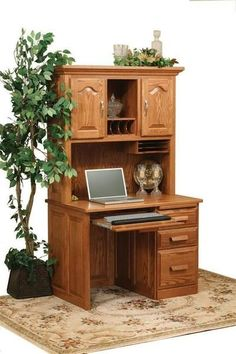 Amish Flat Top Computer Desk with Hutch Top Get busy at beautiful wood furniture. A complete home office center, this computer desk has it all. Upgrades include secret compartment, locks, soft close drawers and more. #desk #wooddesk