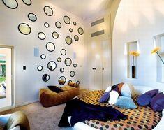 Spiegel-Wand Rund Deko-Schlafzimmer Design Ideen