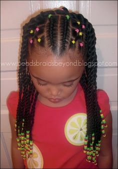 sister twists and cornrows. Love the pop of colour with the elastic bands