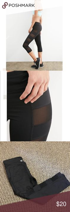 [2 Pairs] Black Workout Leggings Both pairs of leggings are from F21 Active. The first pair is cropped with mesh panels on the sides & the second pair is full length with a side pocket. Size XS. Worn once & washed. $20 for both! lululemon athletica Pants Leggings