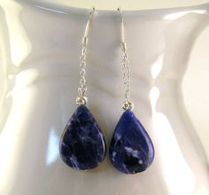 #Blue Sodalite EarringsTeardrop Sterling Silver  Earrings #2dayslook #new #Earrings #fashion #nice  www.2dayslook.com