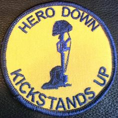 """Jon Swayze HERO DOWN KICKSTANDS UP - PGR Colors 3"""" ROUND BIKER PATCH thescooterpatch.ecrater.com SPECIAL ORDERED PGR COLORS by OVERWHELMING REQUESTS! POSTAGE PAID! First Custom Designed Patch presented by The Scooter Patch!"""